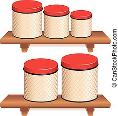 Kitchen Canister Set Five food storage containers with red...