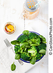 Broccoli, baby spinach and green beans salad