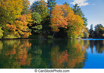 Fall colors reflection - Colorful leaves reflected on Lake...