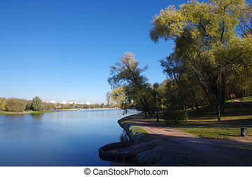 Pond in Tsaritsyno in autumn day