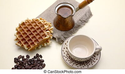 Belgian waffles and coffee - Belgian waffles for breakfast...