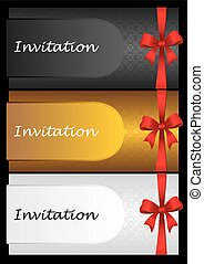 Luxury invitation cards with red ribbon bow.