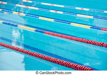 Swimming pool lanes - Swimming pool tracks, clear blue water...
