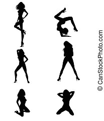 Six girls silhouettes - Vector illustration of a six girls...