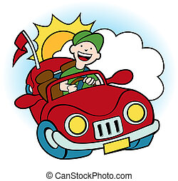 Convertible Car - Grouped cloud, sun and convertible of man...