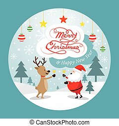 Santa Claus and Reindeer Drinking Champagne, Label
