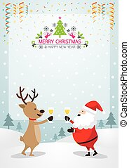 Santa Claus and Reindeer Drinking Champagne, Frame and Background