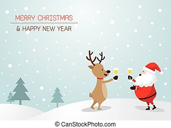 Santa Claus and Reindeer Drinking Champagne, Background