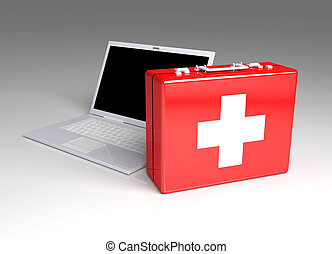 Laptop First aid - 3D Illustration. Isolated on white.