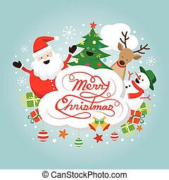 Santa Claus, Snowman, Reindeer and Tree Characters, Label