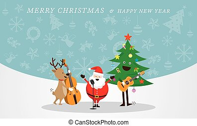 Santa Claus, Snowman, Reindeer, Playing Music Icons Background
