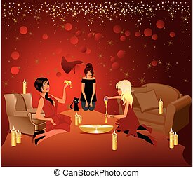 Evening with the girls - composition of the girls who met...