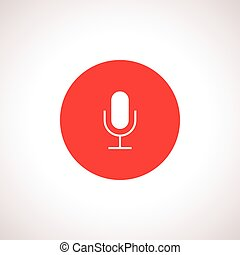Vector Microphone Icon in red circle