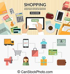 Online shopping flat concept background banner - Online...