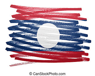 Flag illustration - Laos - Flag illustration made with pen -...