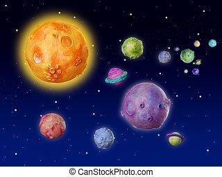 espaço, planetas, fantasia, feito à...