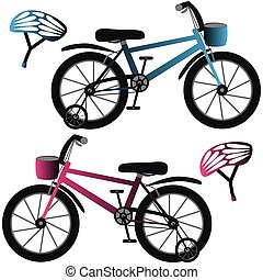 Kids bicycles and helmets