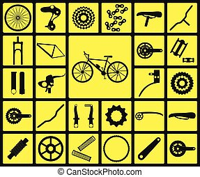 Set of black silhouette icons of bicycle spare parts. Twenty...