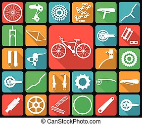 Set of flat icons of bicycle spare parts. Twenty seven...