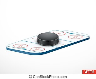 Symbol of a hockey puck and ice arena - Symbol of a hockey...
