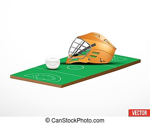 Symbol of a lacrosse helmet and field in three-dimensional...