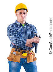 young worker holding hammer with other tools.