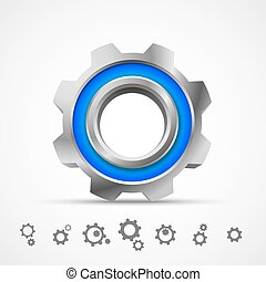 Gear icon 3d sign object. Vector illustration