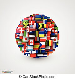 World flags in form of sphere.