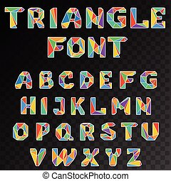 triangular alphabet - English mosaic triangular alphabet for...