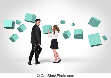 Business man near with turquoise cubes - Businessman and...