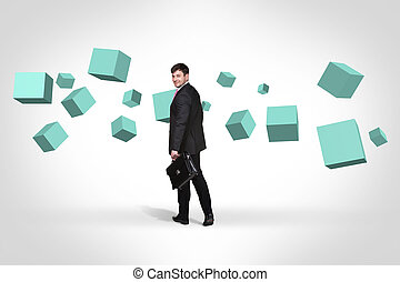 Business man near with turquoise cubes - Business woman...