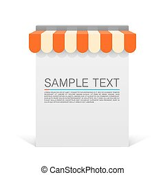 Store striped awning modern banner Vector illustration