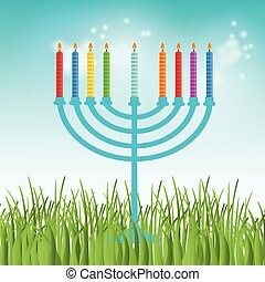 Hanukkah menora - illustration of hanukkah, jewish holiday...