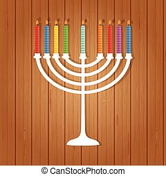 illustration of hanukkah, jewish holiday Hanukkah menora...