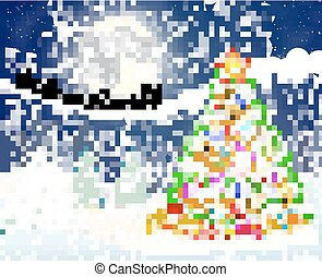 christmas tree on the background of night sky