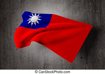 Taiwan flag - 3d rendering of a Taiwan flag on a dirty...