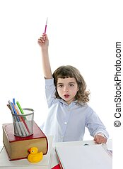 hand up student little girl rising marker on school desk