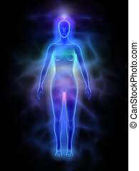 Human aura and chakras - woman - Illustration of human...