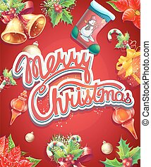 Greeting card with Christmas and New Year