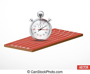 Symbol of a stopwatch and run athletic track - Symbol of a...