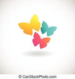 Vivid colors butterfly logo - Three butterfly logo. Yellow,...