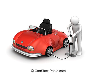 Man pumping red cabrios tyre 3d isolated on white background...
