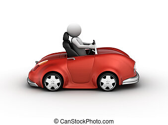 Red cabrio car driven by character (3d isolated on white...