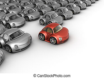 Special red car in front of many grey cars 3d isolated on...