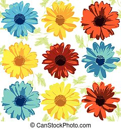 Vector set of realistic flowers