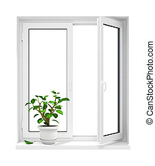 open plastic window with flowerpot on windowsill