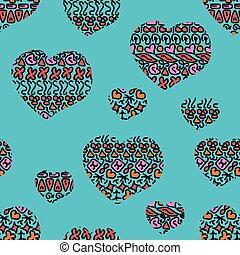 Seamless doodle geometric pattern with hearts.