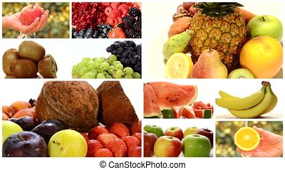 close up of diverse fruits, montage - collage including...