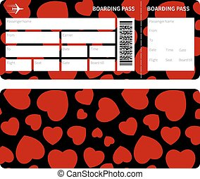 ticket with heart - Blank plane tickets for romantic trip...