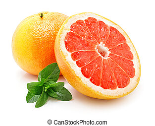 fresh grapefruit with cut isolated